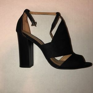 Bamboo black block heels